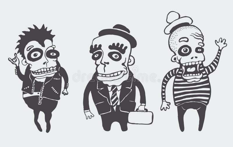 inställda roliga personages vektor illustrationer