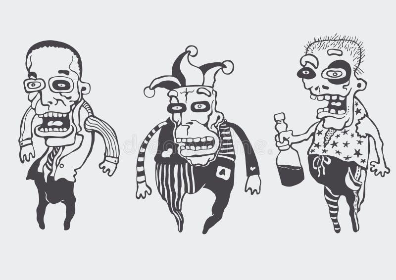 inställda roliga personages stock illustrationer