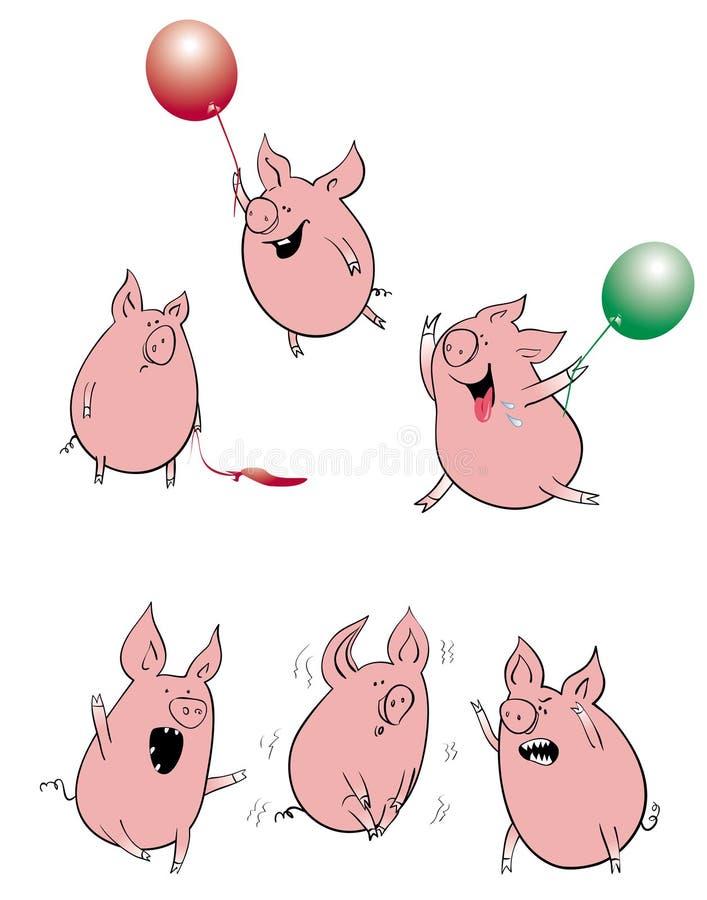 inställda roliga pigs stock illustrationer
