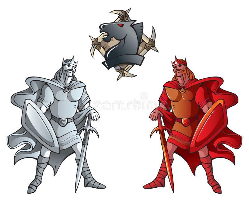 inställda schackkonungar vektor illustrationer