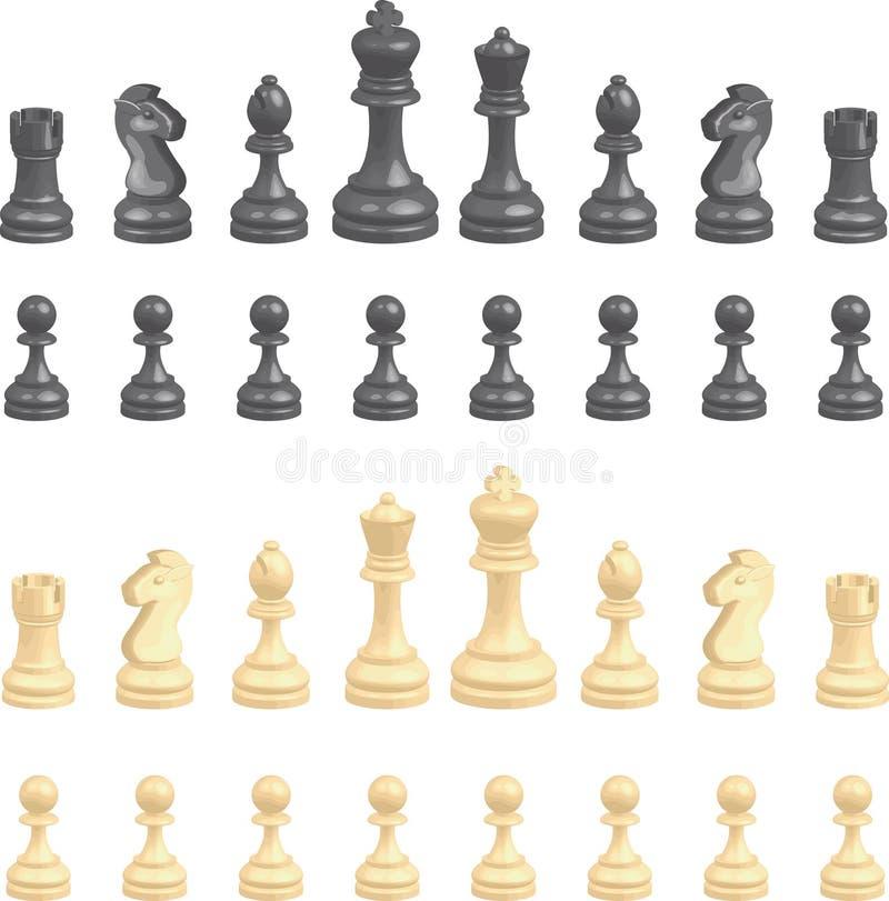 inställda schackstycken royaltyfri illustrationer