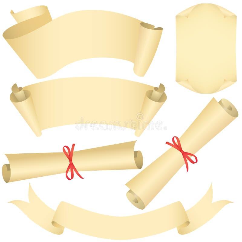 inställda scrolls för banerdiplomgrunge vektor illustrationer