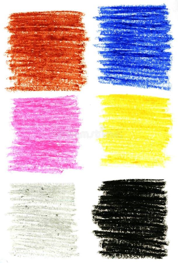 inställda slaglängder för färg blyertspennor arkivbild