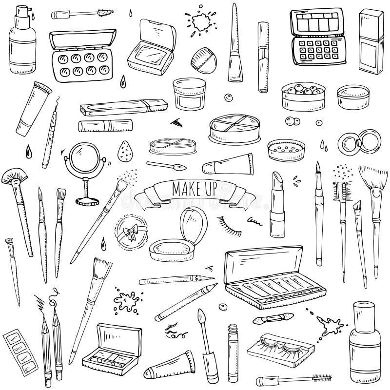 Inställda sminksymboler royaltyfri illustrationer