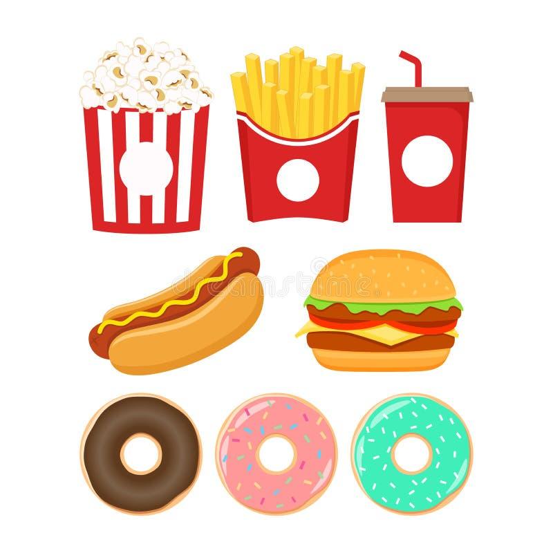 inställda snabbmatsymboler Den hamburgare-, popcorn-, fransmansmåfisk-, sodavatten-, munk- och varmkorvtecknade filmen ställde in vektor illustrationer