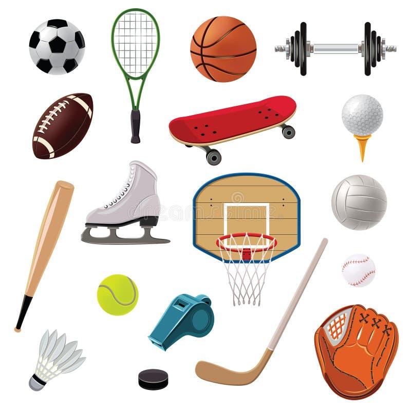Inställda sportutrustningsymboler vektor illustrationer