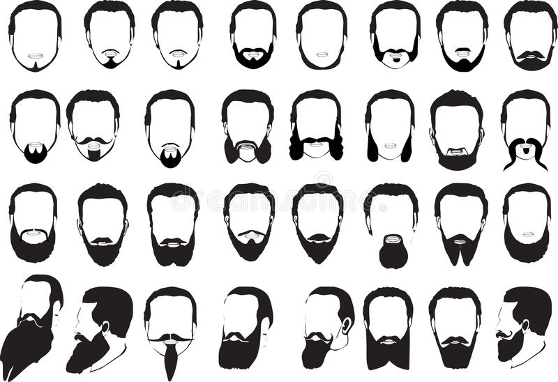 inställda stora män för skägg vektor illustrationer