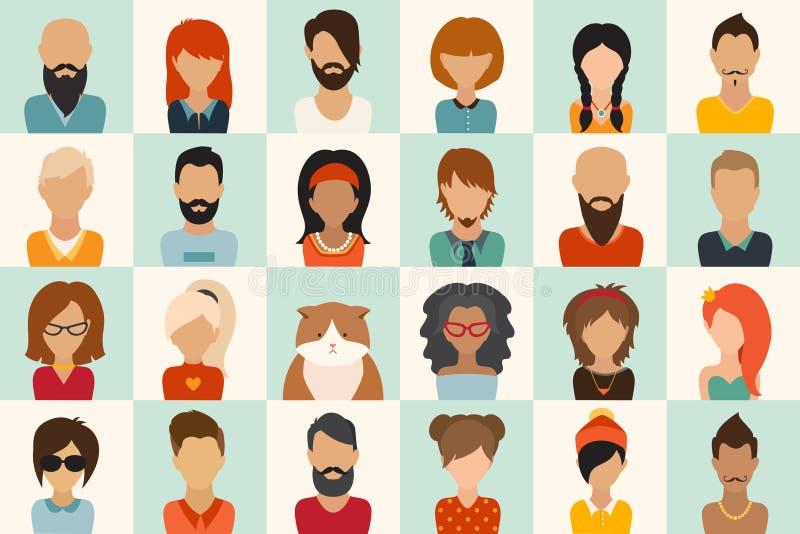 Inställda stora symboler 12 kvinnor, 11 män och 1 för symbolsvektor för katt plana illustration vektor illustrationer
