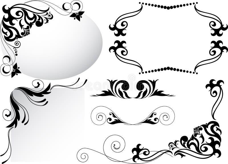 inställda svarta prydnadar royaltyfri illustrationer