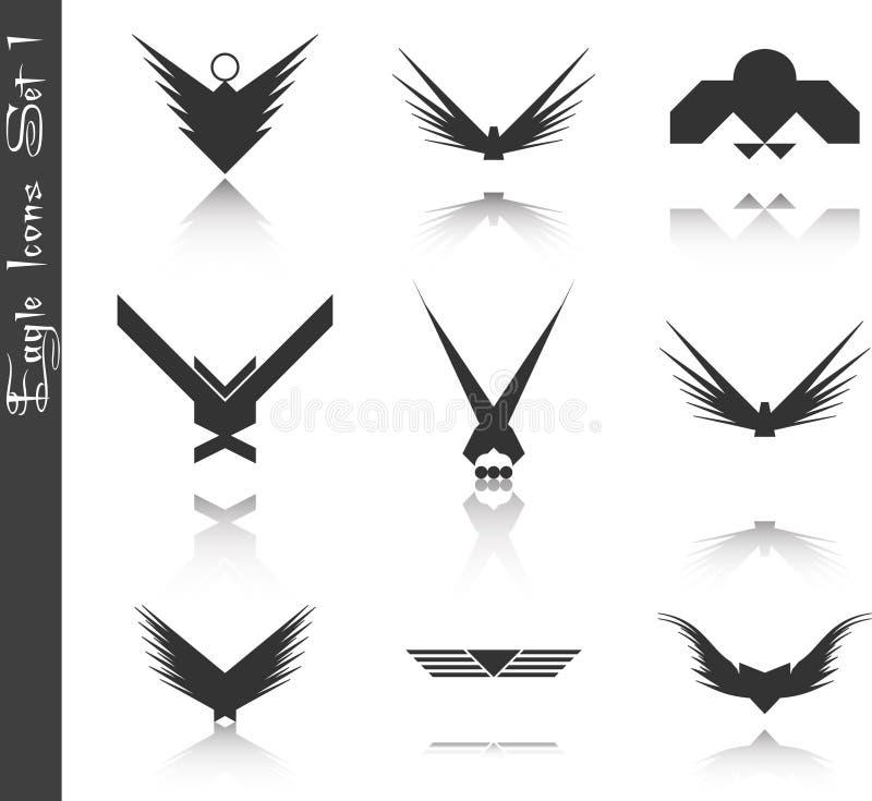 inställda symboler för 1 örn stock illustrationer