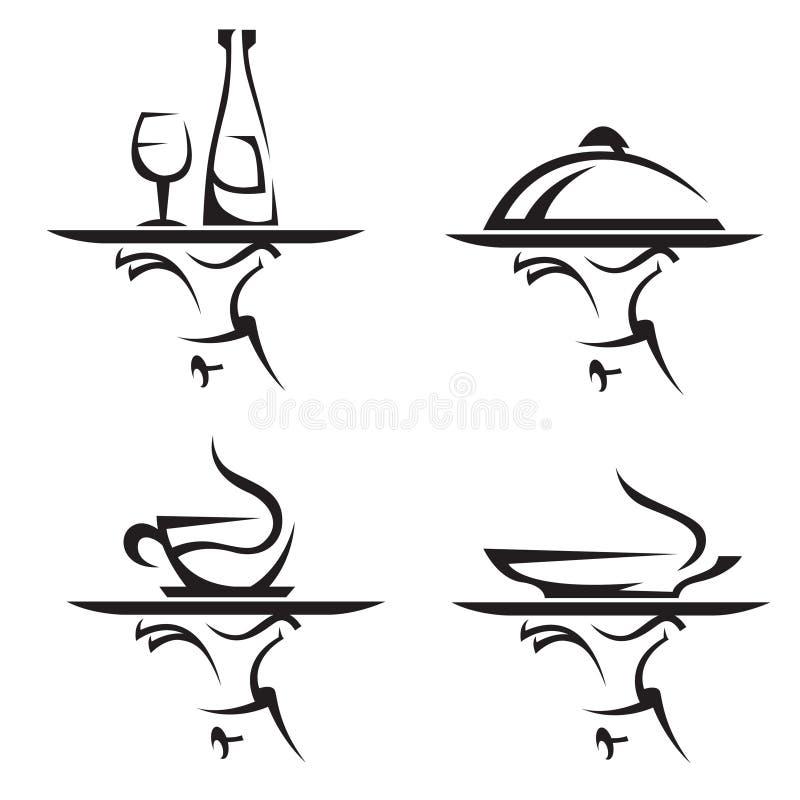 inställda symbolsrestauranger royaltyfri illustrationer