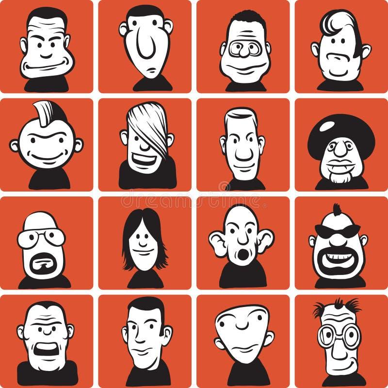 inställda tecknad filmklotterframsidor stock illustrationer