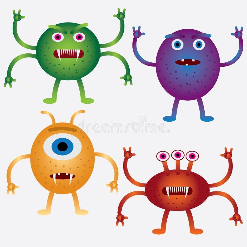 inställda tecknad filmmicrobes stock illustrationer