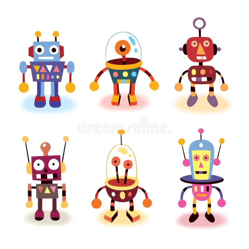 Inställda tecknad filmrobotar vektor illustrationer