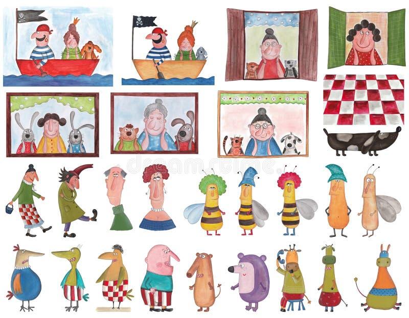 inställda tecknad filmtecken royaltyfri illustrationer