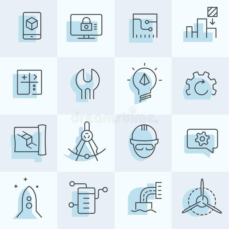 inställda tekniksymboler vektor illustrationer