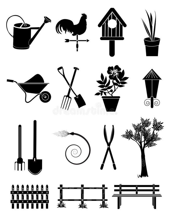 inställda trädgårds- symboler stock illustrationer