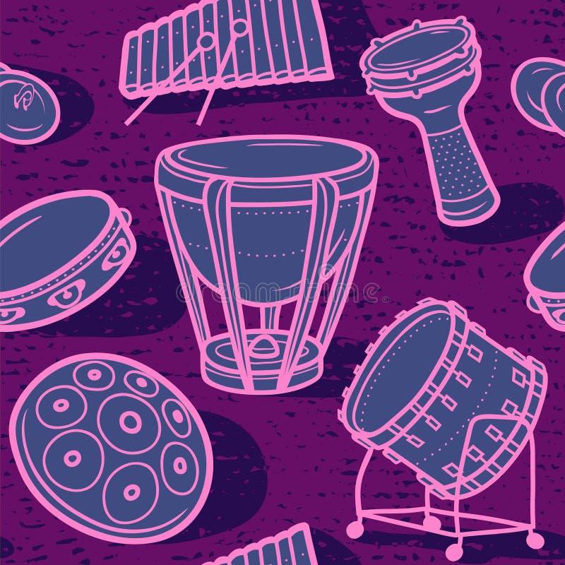 inställda valsar Musikalisk bakgrund slagverk color vektorn för möjliga variants för modellen den olika royaltyfri illustrationer