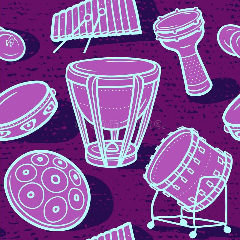inställda valsar Musikalisk bakgrund slagverk color vektorn för möjliga variants för modellen den olika stock illustrationer