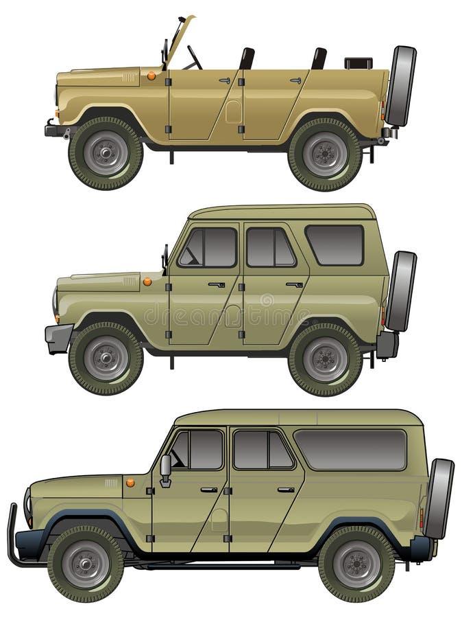 Inställda vektorJeeps stock illustrationer