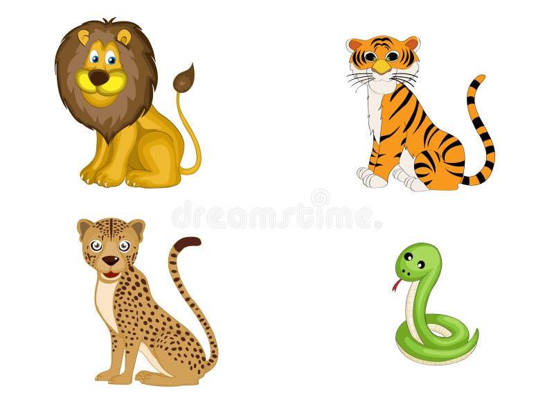 Inställda Wild djur royaltyfri illustrationer