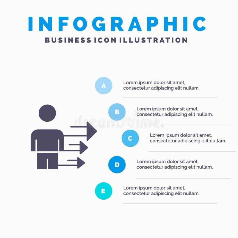 Inställning affär, ledarskap, modern fast bakgrund för presentation för symbolsInfographics 5 moment vektor illustrationer