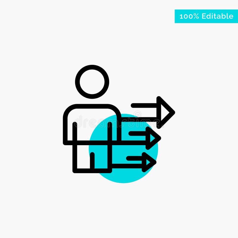 Inställning affär, ledarskap, modern symbol för vektor för punkt för turkosviktigcirkel vektor illustrationer