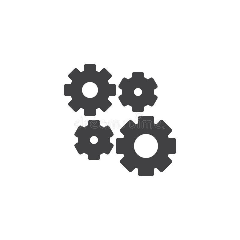 Inställning av kugghjul, kugghjulvektorsymbol stock illustrationer