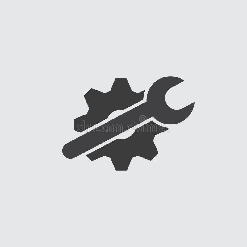 Inställning av skiftnyckel- och kugghjulsymbolen i svart på en grå bakgrund också vektor för coreldrawillustration royaltyfri illustrationer