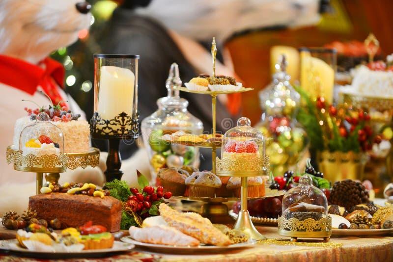 Inställning för matställetabell Jul royaltyfria bilder