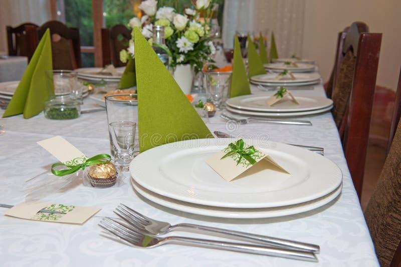 Inställning för tabell för bröllopmottagande royaltyfria foton