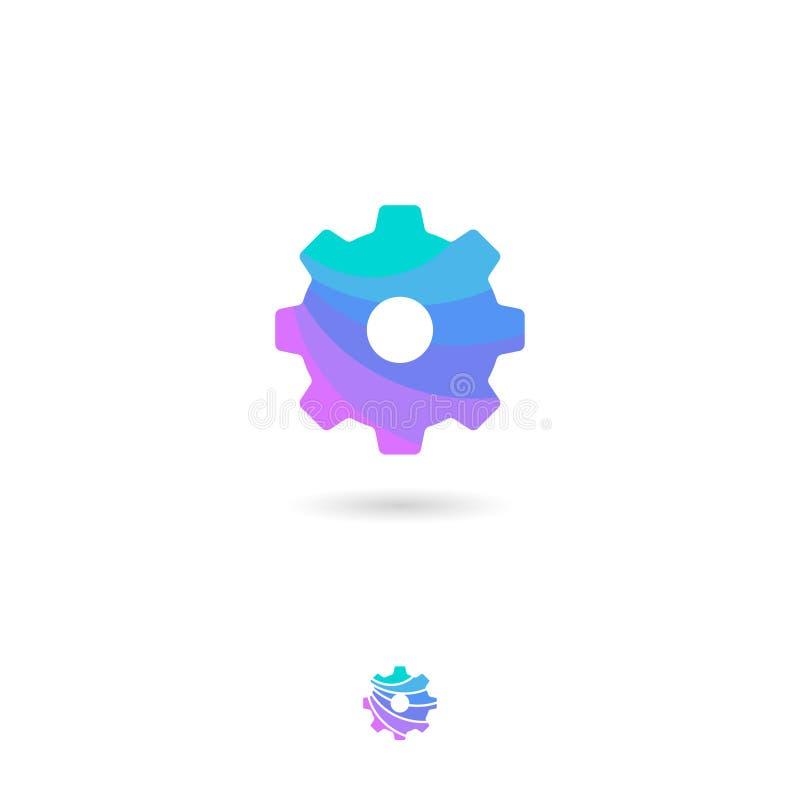 Inställning UI-symbol rullad white för bakgrundssymbolstraktor rengöringsduk Ställa in kugghjulemblem Kugghjulpictogram System pr vektor illustrationer