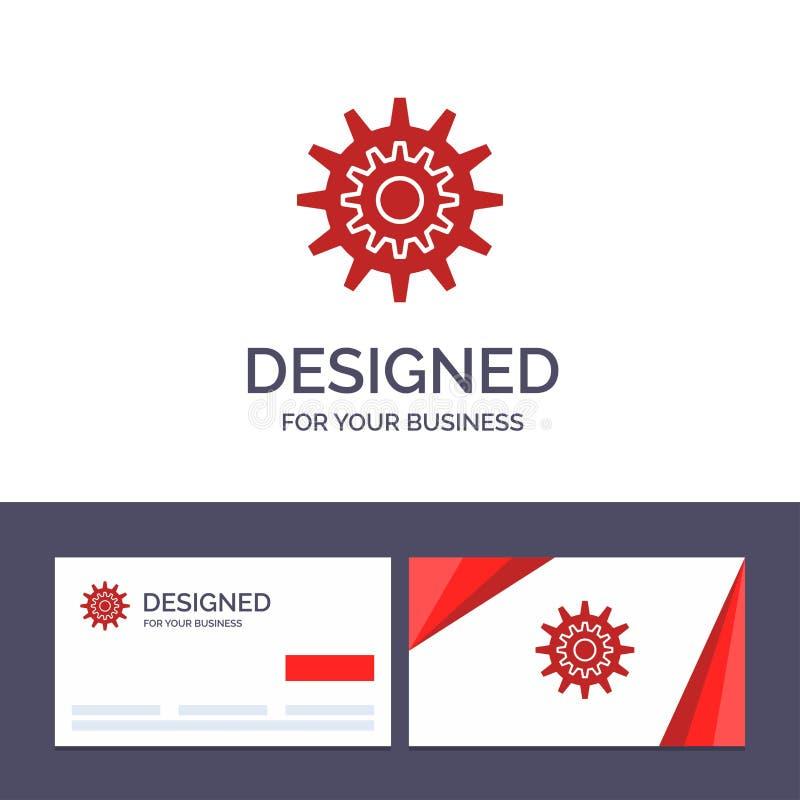 Inställningar för idérik mall för affärskort och logo, kugge, kugghjul, produktion, system, hjul, arbetsvektorillustration stock illustrationer