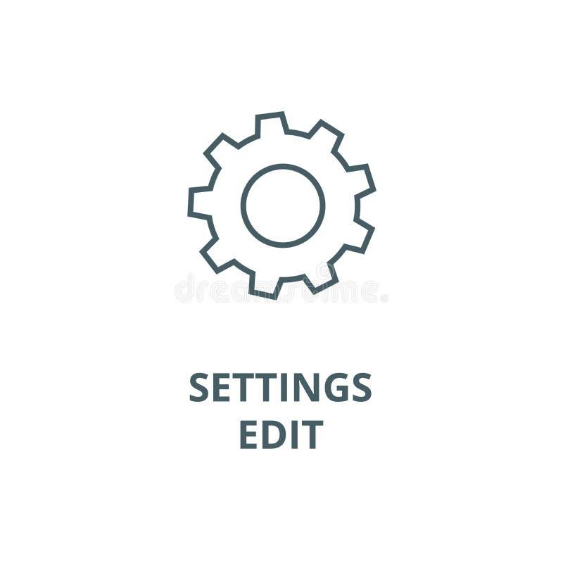 Inställningar redigerar vektorlinjen symbolen, det linjära begreppet, översiktstecknet, symbol stock illustrationer