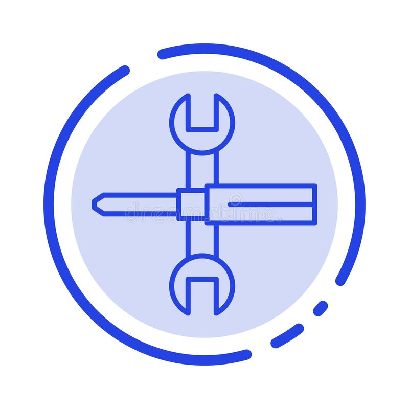 Inställningar styrning, skruvmejsel, skruvnyckel, hjälpmedel, blå prickig linje linje symbol för skiftnyckel stock illustrationer