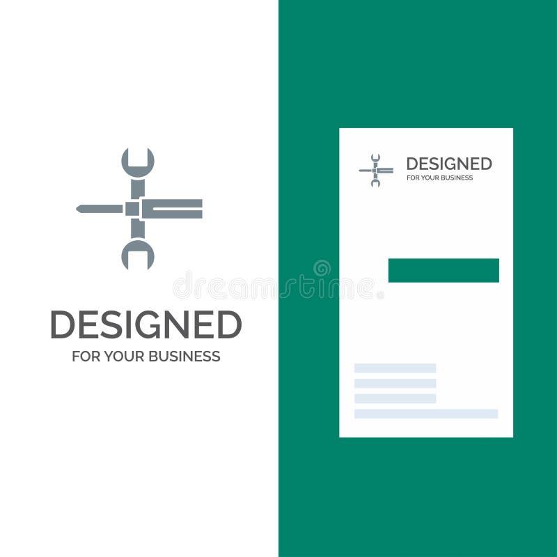 Inställningar, styrning, skruvmejsel, skruvnyckel, hjälpmedel, skiftnyckel Grey Logo Design och mall för affärskort vektor illustrationer