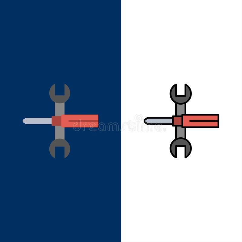 Inställningar styrning, skruvmejsel, skruvnyckel, hjälpmedel, skiftnyckelsymboler Lägenheten och linjen fylld symbol ställde in b stock illustrationer