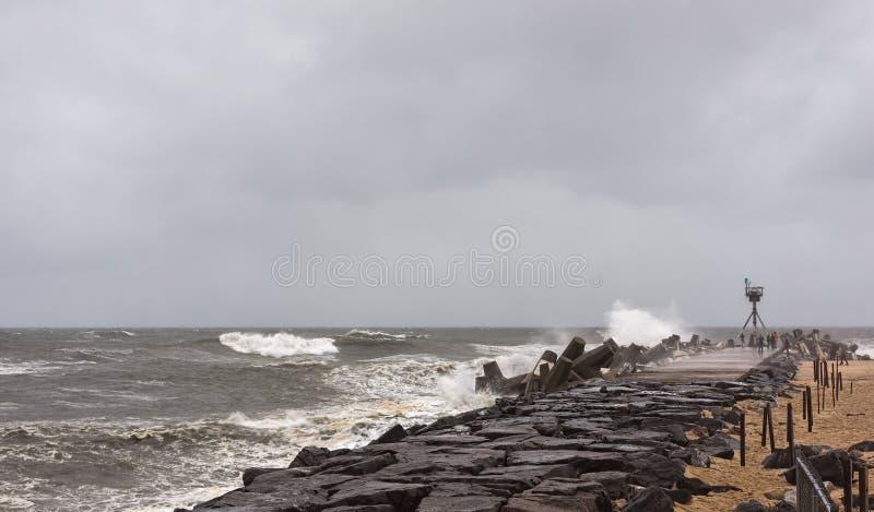InställningsNew Jersey för orkan sandig kust royaltyfria bilder