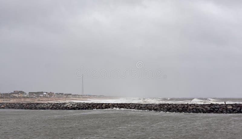 InställningsNew Jersey för orkan sandig kust arkivbild