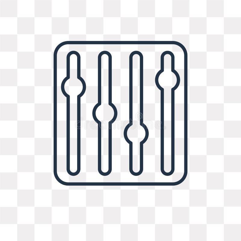 Inställningsvektorsymbol som isoleras på genomskinlig bakgrund som är linjär vektor illustrationer