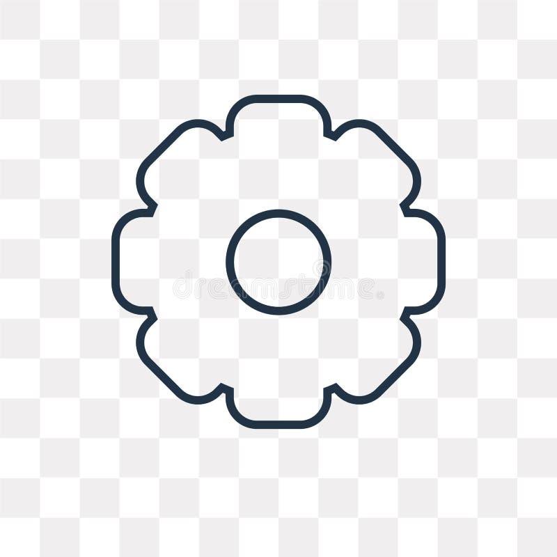 Inställningsvektorsymbol som isoleras på genomskinlig bakgrund som är linjär royaltyfri illustrationer
