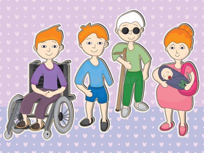 Inställt handikappfolk stock illustrationer