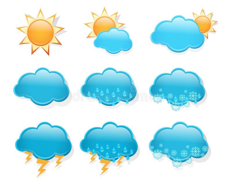inställt väder för dagprognos symboler royaltyfri illustrationer