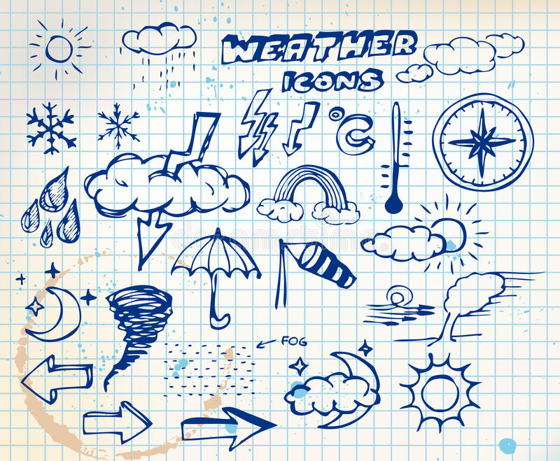 inställt väder för teckningsgrungehand symboler vektor illustrationer