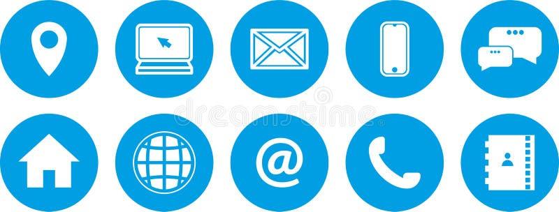 inst?llda bl?a symboler Bl?tt kn?ppas upps?ttningen nya kommunikationssymboler royaltyfri illustrationer