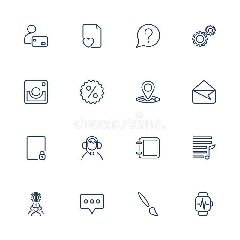 Inst?llda enkla symboler Universell upps?ttning f?r App-symboler f?r reng?ringsduk och mobil royaltyfri illustrationer