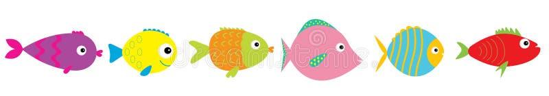 inst?llda gulliga fiskar f?r tecknad film Havshavdjur Behandla som ett barn ungesamlingen Plan design Vit bakgrund isolerat stock illustrationer