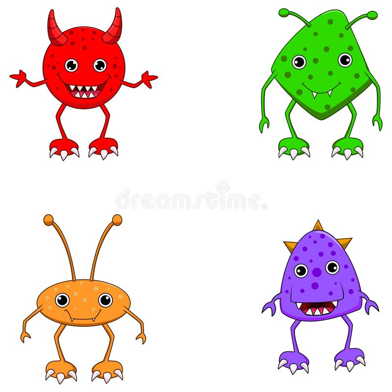 inst?llda gulliga monster vektor illustrationer