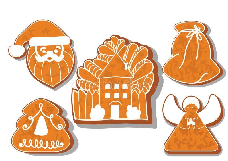 inst?llda julkakor St?ll in av olika pepparkakakakor f?r jul Tecken f?r julpepparkakajul royaltyfri illustrationer