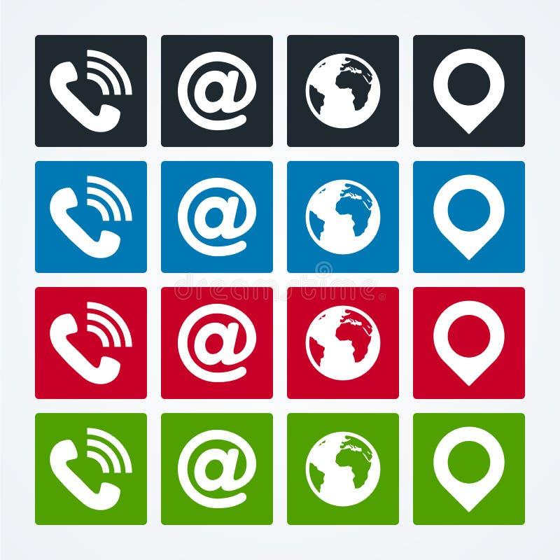 Inst?llda kontaktsymboler royaltyfri illustrationer